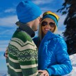 Young couple on winter vacation — ストック写真