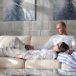 Happy young couple relax at home — Foto Stock