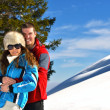 Young couple on winter vacation — Stock fotografie #36053899