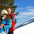 Young couple on winter vacation — Stok Fotoğraf #36053899