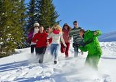 Group of friends outdoors in winter — Stock fotografie