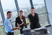 Business people and engineers on meeting — Stock Photo