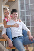 Relaxed young couple home — Stock Photo