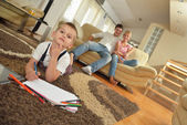 Family drawing at home — Stock Photo