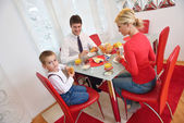Family have healthy breakfast at home — Foto de Stock