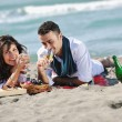 Happy young couple have fun at beautiful beach — Stock Photo #4389253