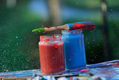 Old used paint brushes — Stockfoto