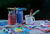 Old used paint brushes — Stock Photo