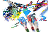 Paints and artist brushes — Foto Stock
