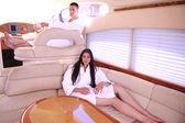 Couple on yacht — Foto Stock