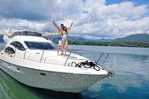 Couple on yacht — Stock Photo