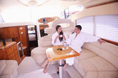 Couple on yacht — Stock Photo