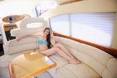 Woman on yacht — Stock Photo