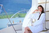 Woman at yacht — Stock Photo