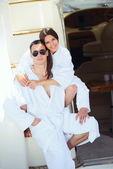 Couple at  yacht — Stock Photo