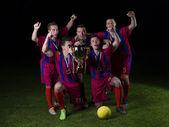 Giocatori di calcio festeggia la vittoria — Foto Stock