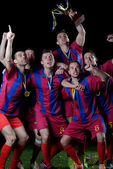Soccer players celebrating victory — Stock Photo