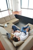 Couple relax at home — Stock Photo