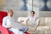 Happy young couple relax at home — Stock Photo