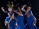 Fußball-spieler feiern sieg — Stockfoto