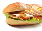 Sandwich close up with vegetables and meat — ストック写真
