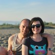 Happy young couple have fun on beach — Stock Photo #6024022
