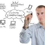 Business man draw cloud computing chart — Stock Photo #9108636
