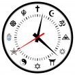 Religions clock - Stock Photo