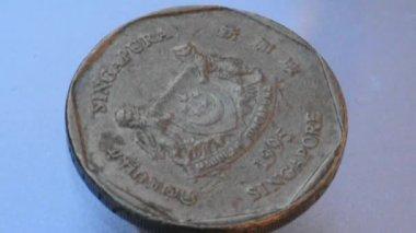 シンガポール 1 ドル コイン スピン — ストックビデオ