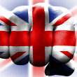 Uk flag fist — Stockfoto