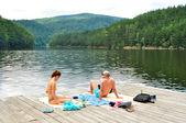 Lake pontoon — Stock Photo