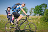 Family cycling in summer — Stock Photo