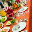 Decorated table in the restaurant. - Stock Photo