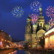Firework above savior-on-the-blood temple — Stock Photo #24180521