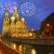 Firework above savior-on-the-blood cathedral — Stock Photo #24180539