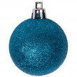 Blue new-year tree decoration isolated on white — Stockfoto