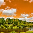 Stock Photo: Panorama with river under orange sky