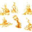 Set of six orange flames isolated on white — Stok Fotoğraf #24181355