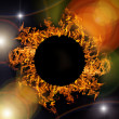 Composition with circle of orange flame — Stock Photo