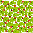 Tiled background with clover leaves and ladybugs — Stock Photo
