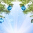 Stock Photo: Fir half frame and snowflakes on blue