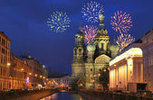 Firework above savior-on-the-blood temple — Stock Photo