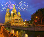 Firework above savior-on-the-blood cathedral — Stock Photo