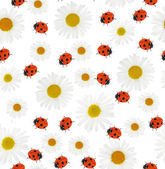 Chamomiles and ladybirds tile background — Stock Photo