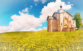 Oude bakstenen kerk op grunge achtergrond — Stockfoto