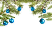 Decorated christmas tree half frame — Stock Photo