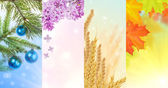 Four seasons vertical nature strips — Stock Photo