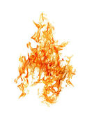 Bright yellow fire on white background — Stock Photo