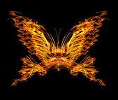 Fiamma di forma farfalla isolato su nero — Foto Stock