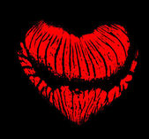 Heart shape red lips imprint isolated on black — Stock Photo